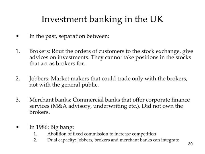 Investment banking in the UK