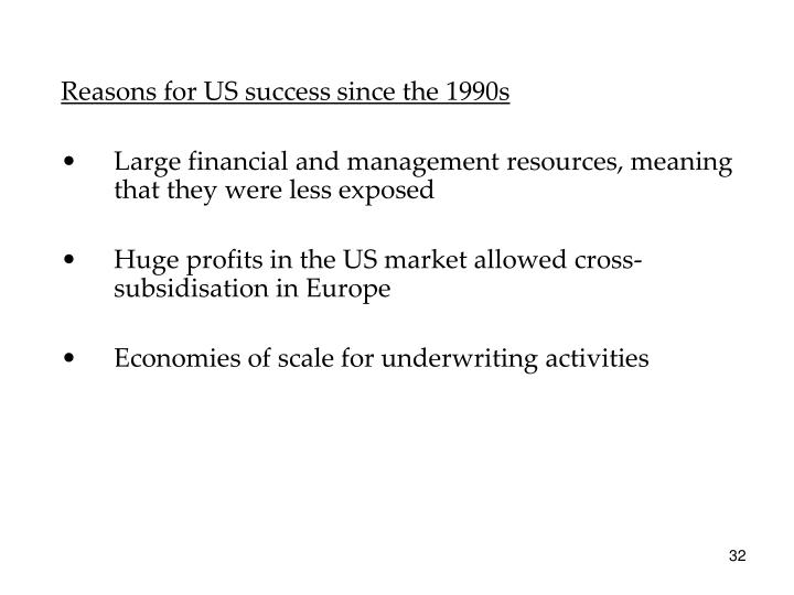 Reasons for US success since the 1990s