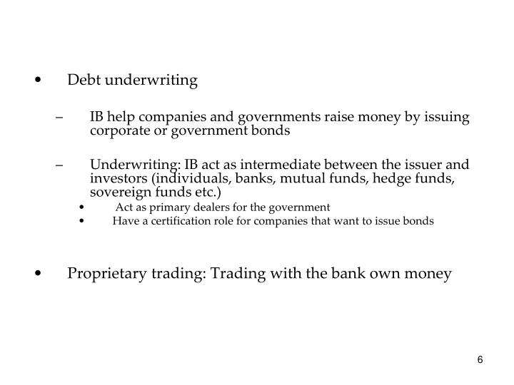 Debt underwriting