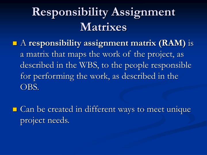 Responsibility Assignment Matrixes
