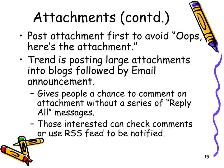 Attachments (contd.)