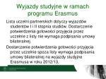 wyjazdy studyjne w ramach programu erasmus3