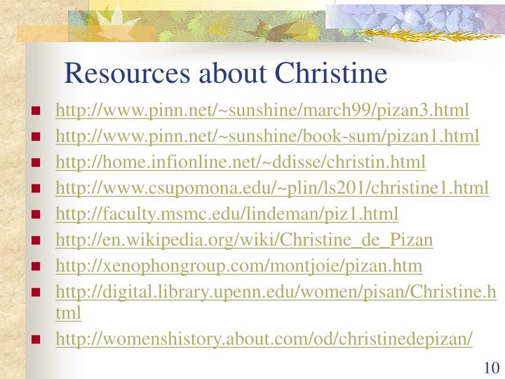 Resources about Christine