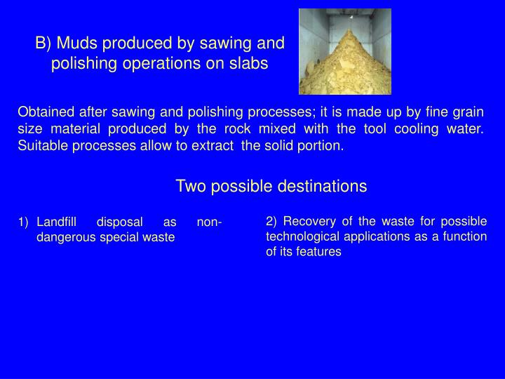 B) Muds produced by sawing and polishing operations on slabs