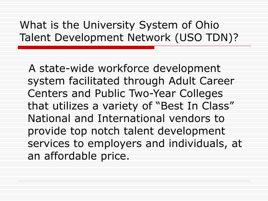 What is the University System of Ohio Talent Development Network (USO TDN)?
