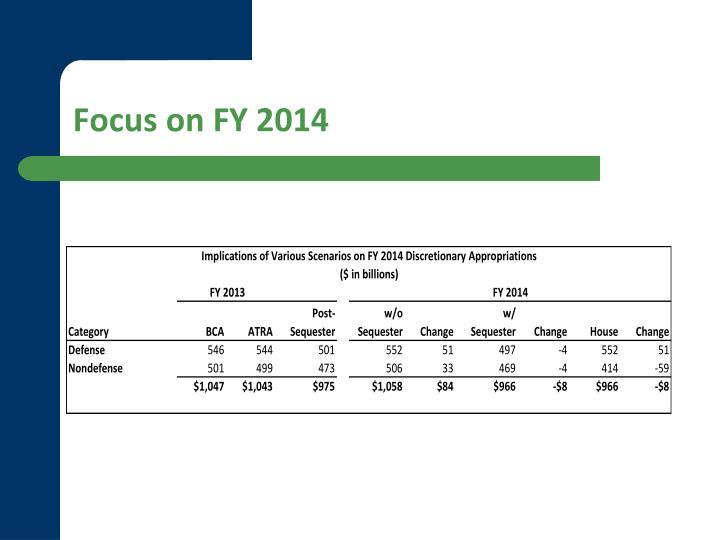 Focus on FY 2014