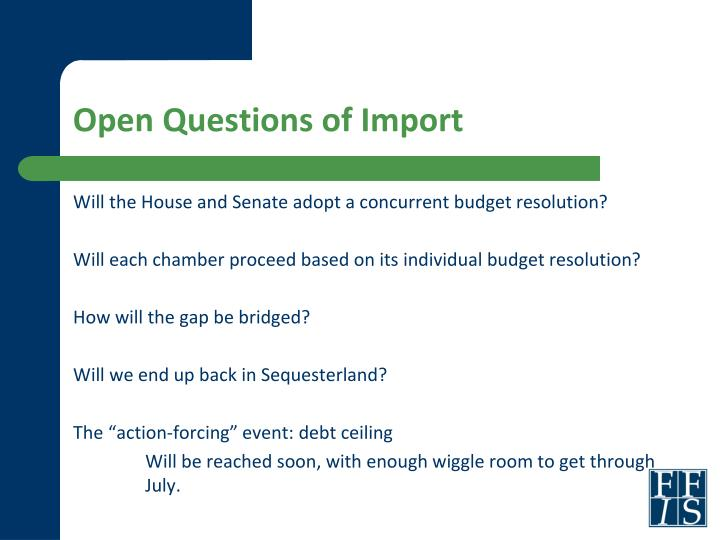 Open Questions of Import