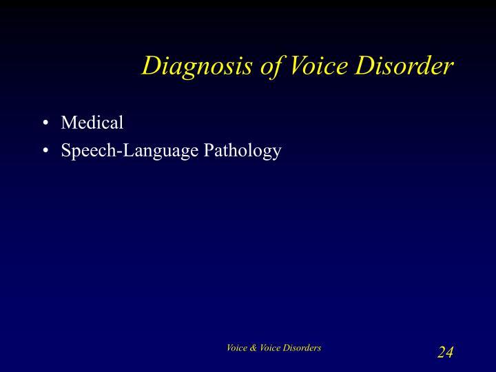 Diagnosis of Voice Disorder