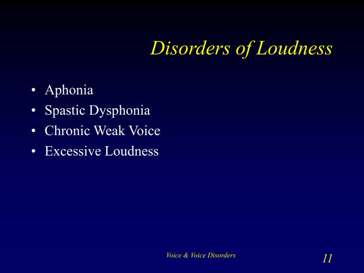 Disorders of Loudness