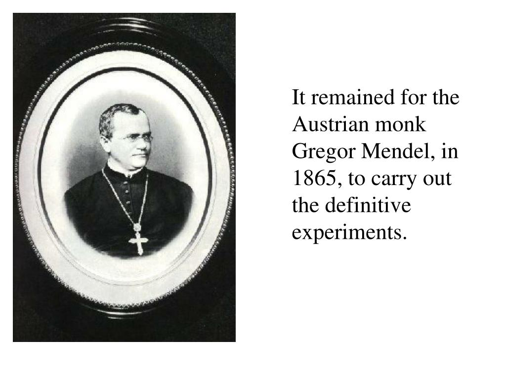 It remained for the Austrian monk Gregor Mendel, in 1865, to carry out the definitive experiments.