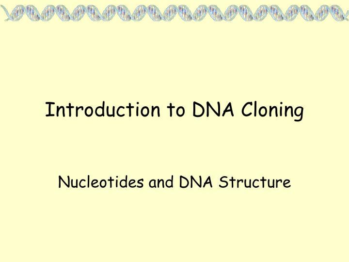Introduction to dna cloning