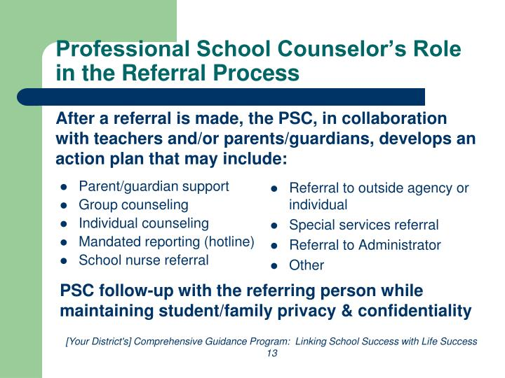 Professional School Counselor's Role in the Referral Process