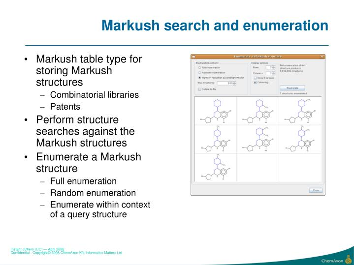 Markush search and enumeration