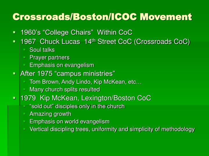 Crossroads/Boston/ICOC Movement