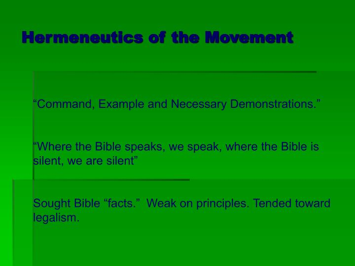 Hermeneutics of the Movement