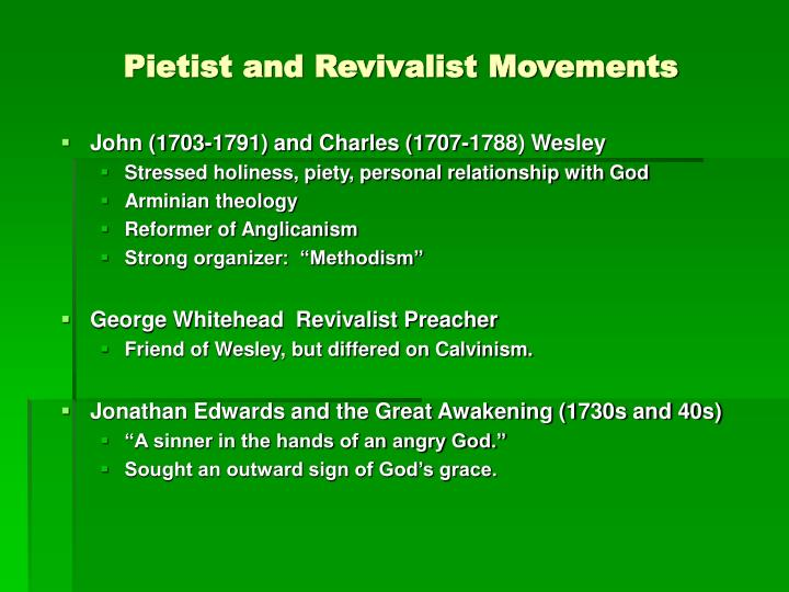 Pietist and Revivalist Movements