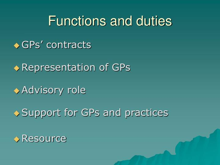 Functions and duties