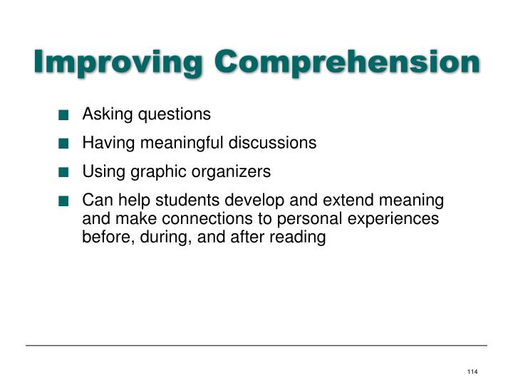 Improving Comprehension