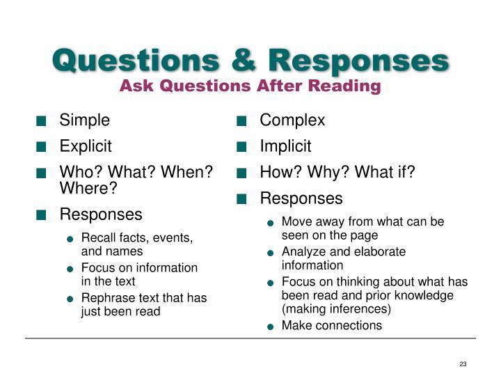 Questions & Responses