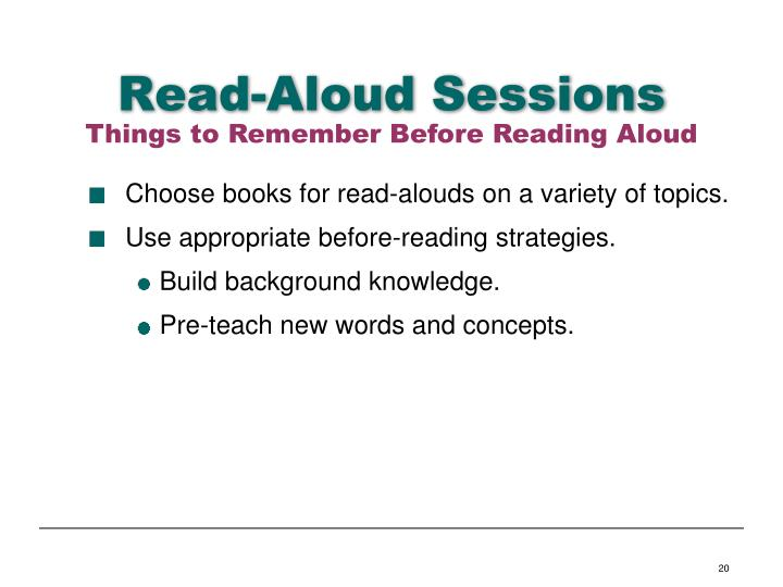 Read-Aloud Sessions