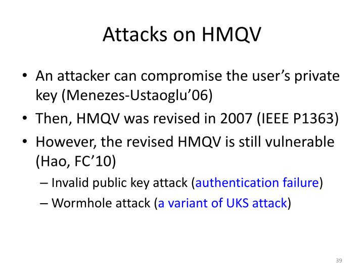 Attacks on HMQV