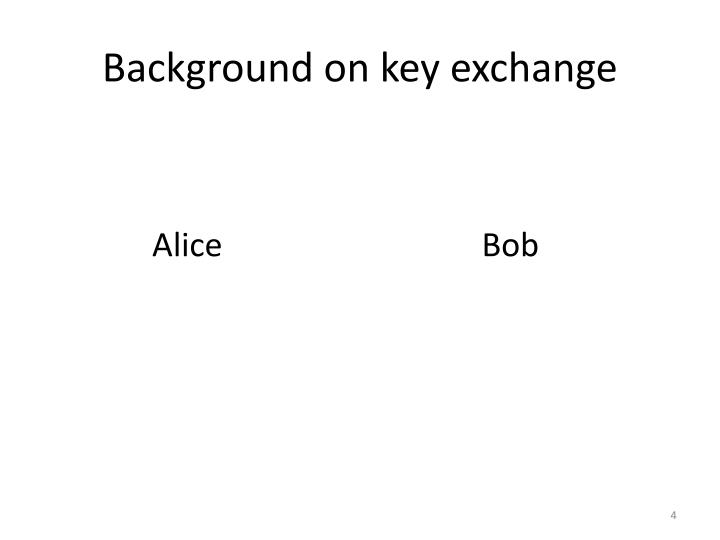 Background on key exchange