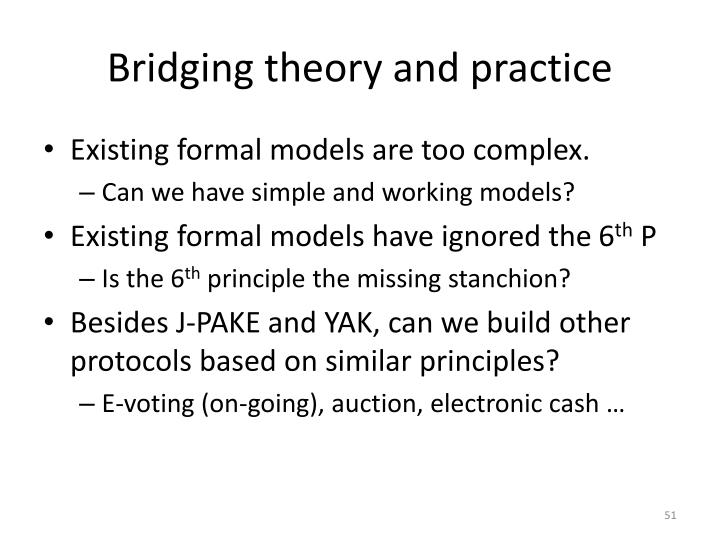 Bridging theory and practice