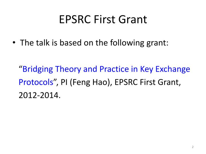Epsrc first grant