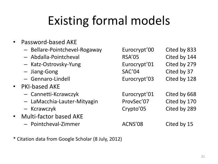 Existing formal models