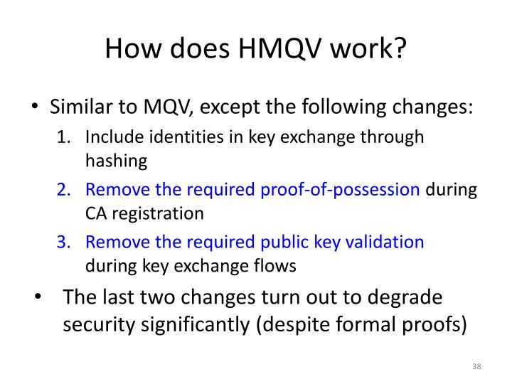 How does HMQV work?