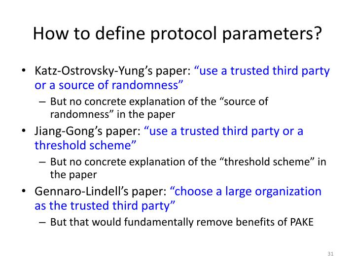 How to define protocol parameters?
