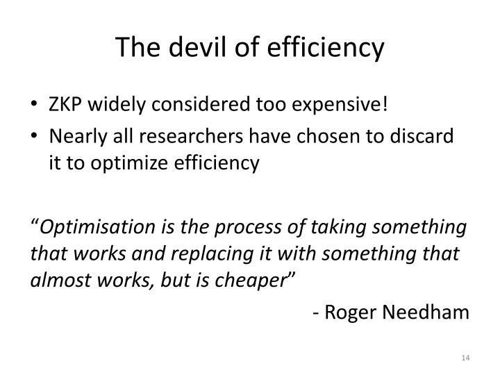 The devil of efficiency