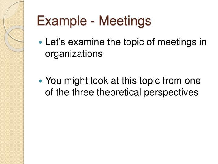 Example - Meetings