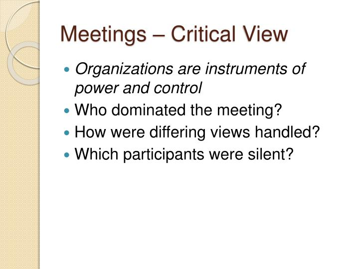 Meetings – Critical View