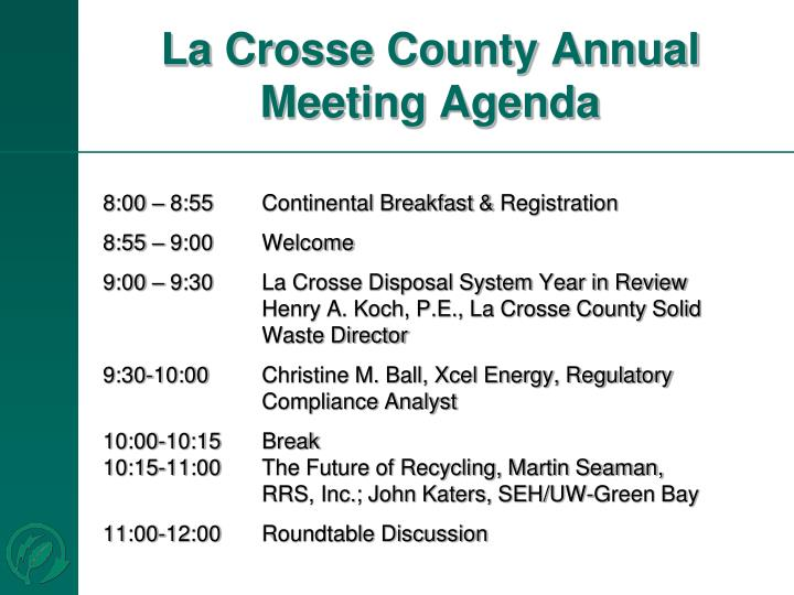 La crosse county annual meeting agenda