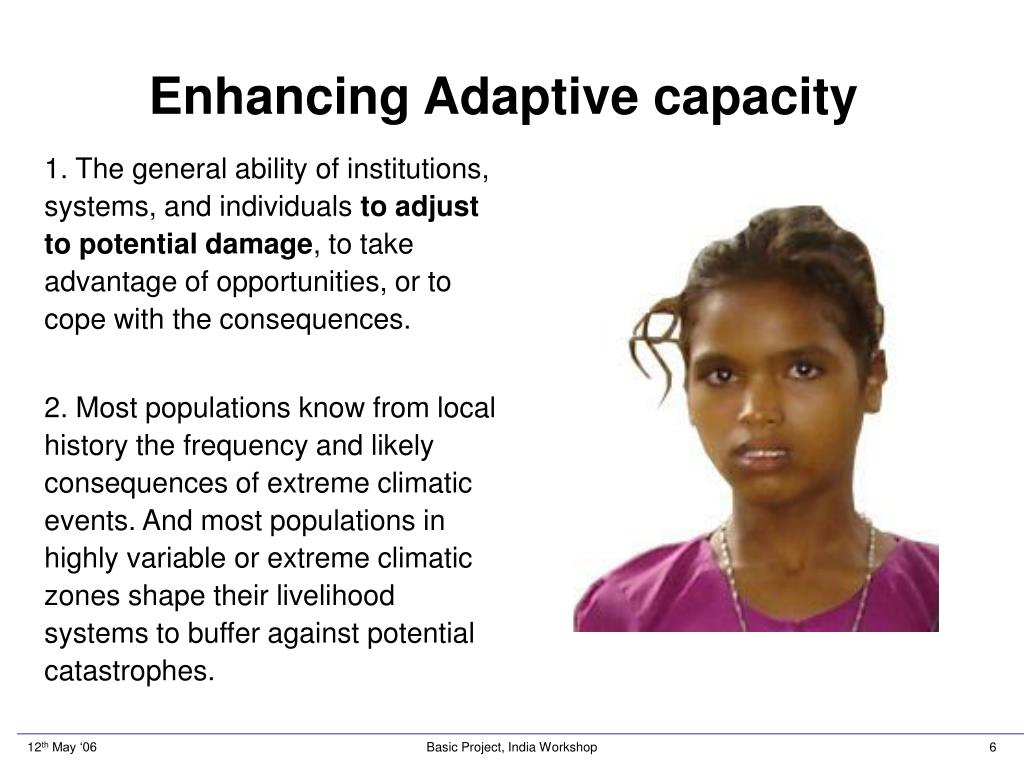 Enhancing Adaptive capacity
