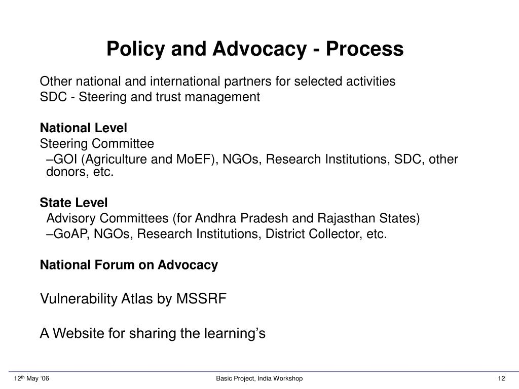 Policy and Advocacy - Process