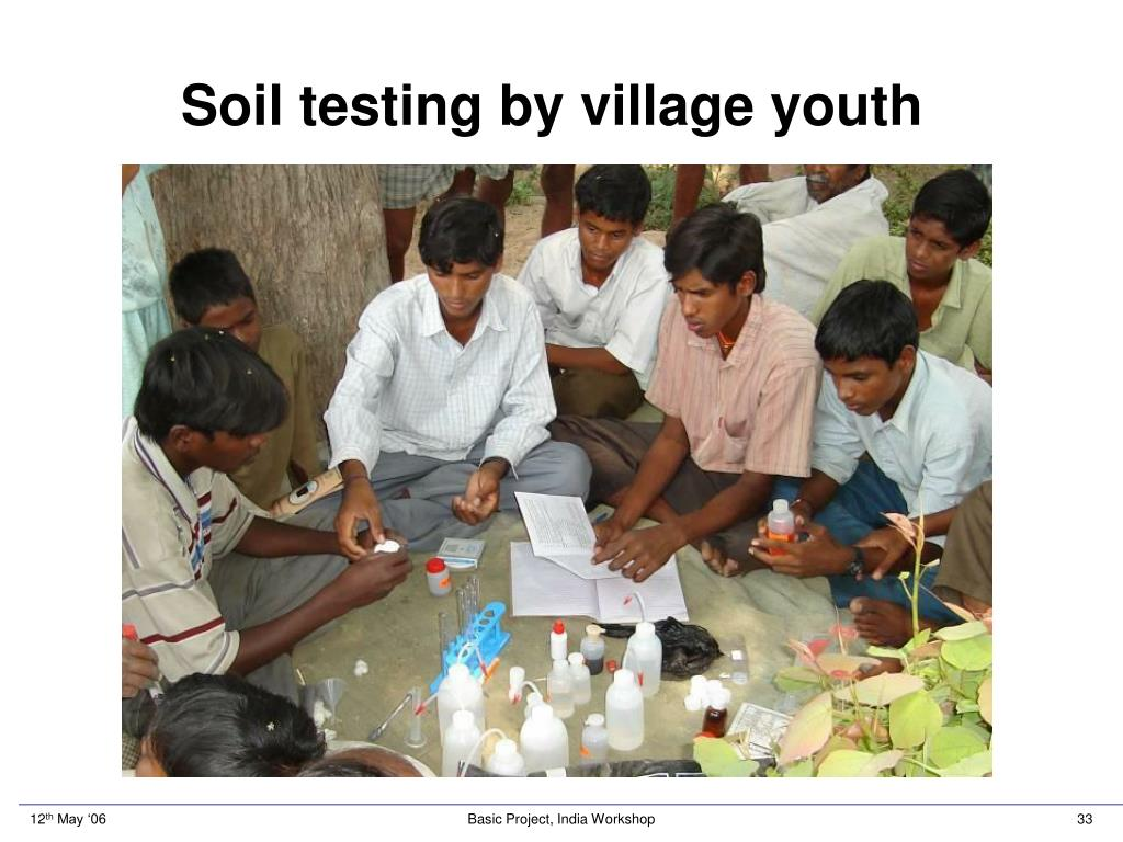 Soil testing by village youth