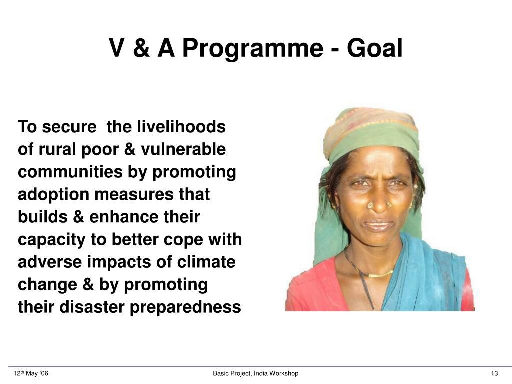 V & A Programme - Goal