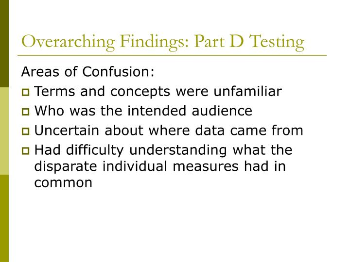 Overarching Findings: Part D Testing