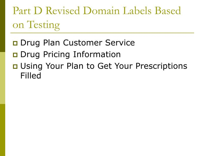 Part D Revised Domain Labels Based on Testing