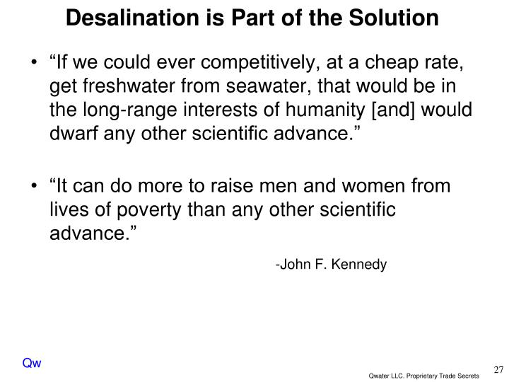 Desalination is Part of the Solution