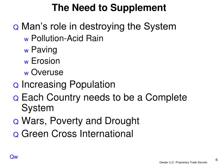 The Need to Supplement