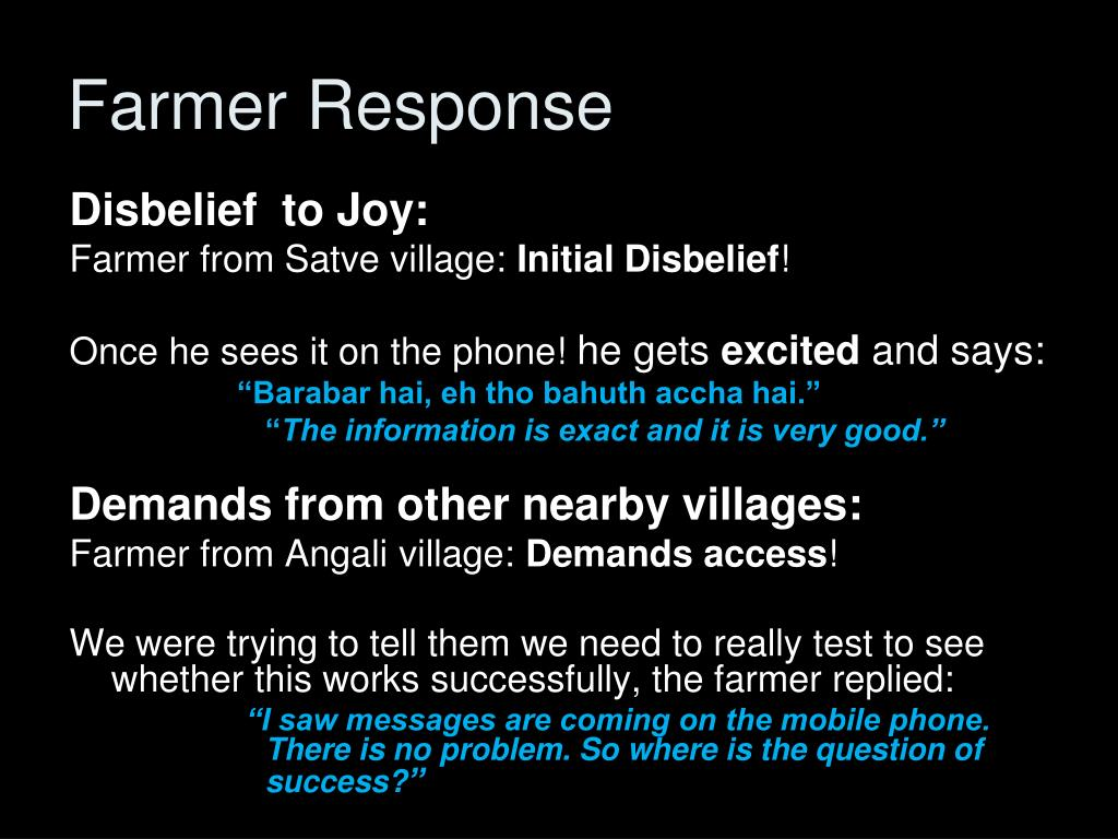 Farmer Response