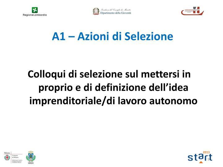 Colloqui di selezione sul mettersi in proprio e di definizione dell'idea imprenditoriale/di lavoro autonomo