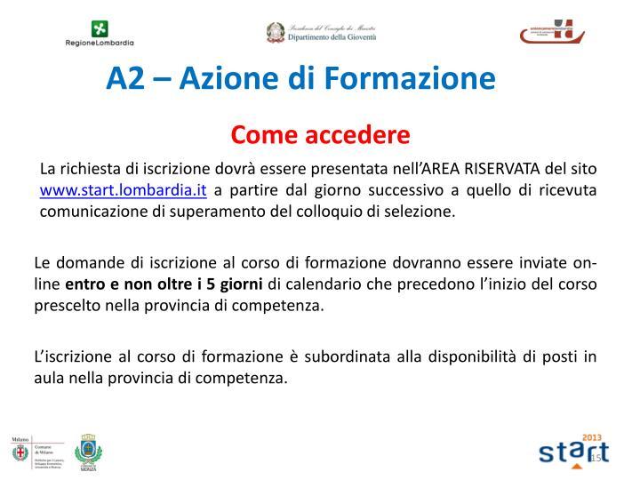 A2 – Azione di Formazione