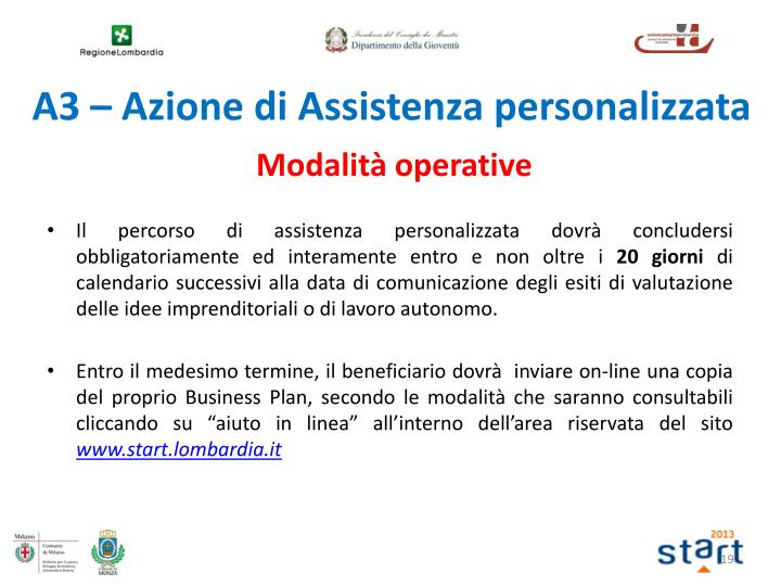 A3 – Azione di Assistenza personalizzata