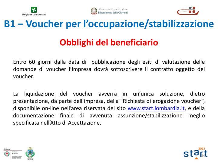 B1 – Voucher per l'occupazione/stabilizzazione