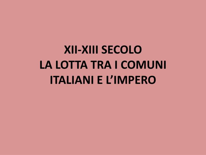 XII-XIII SECOLO