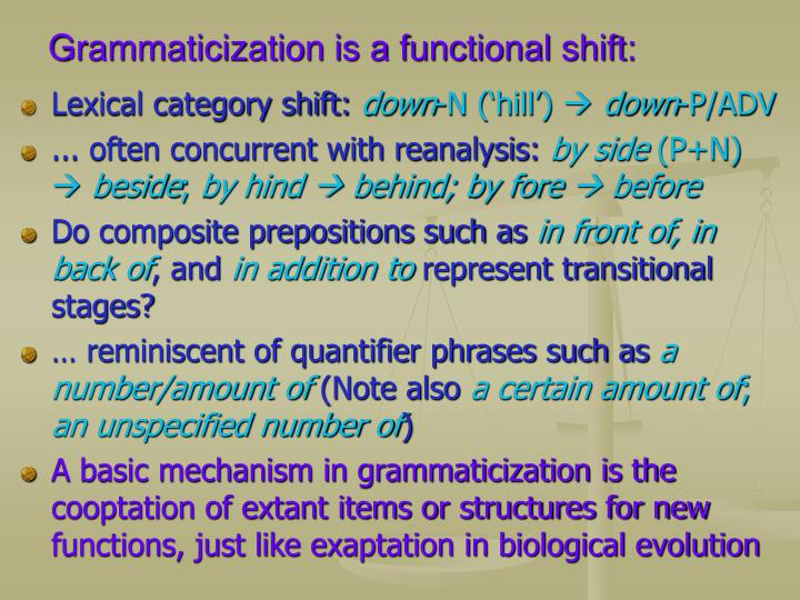 Grammaticization is a functional shift: